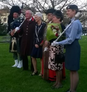 The Mayor with his Mayoress Liz Leavy, Chaplain Rosemary Eaton, Mace Bearer Chris Hocking, Mayor's cadet Aiesha Dabenett and some bloke playing the bagpipes