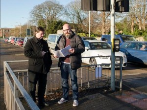 Councillors Leigh Redman and Brian Smedley study EDF's plans on the site of the controversial Broadway junction