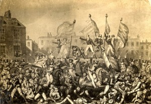 Large gatherings of the common people agitating for reform often met with violent repression such as at Peterloo in manchester in 1819