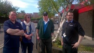 Cllr Kathy Pearce joins West Street residents on the May Walkabout. James Presdee from Clean Surroundings keeps note of their issues.