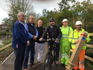 County Councillor Leigh Redman with residents and workers on the newly finished Brownes Pond footpath