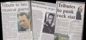 Newspaper clippings from the winter of 2002-3