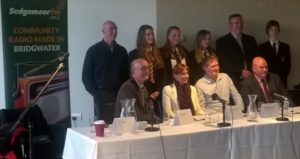 The PCC candidates line up at Sedgemoor FM with some Haygrove students.