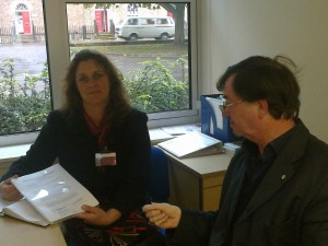 Cllr Smedley submits the Westover scheme to Bev Norman at SCC