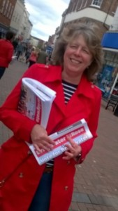 Kathy leafletting for the 2015 election with the 'Bridgwater Rose'