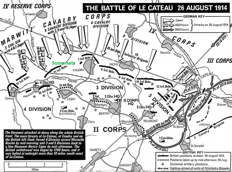 Battle of Le Cateau. Scene of the first Bridgwater fatality Private Sid Smith fighting with the SLI.