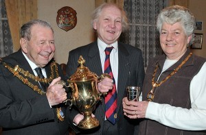 Dr Peter Cattermole who has died this week, pictured receiving the Bridgwater Cup from Ken & Margo Richards.