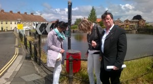 """Cllr Smedley along with 2 passing strangers officially opens the new Dockside Dog bin and confirm """"it's already been used"""""""
