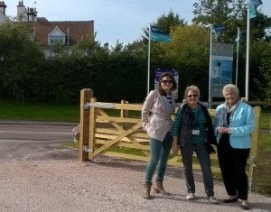 Cllrs Caswell, Slocombe an Bown at the new road gate on Fairfield