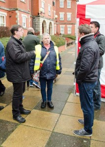 Pat Robinson talks to councillors Brian Smedley and Wes Hinckes about her plans for the regeneration of Bridgwater Docks.