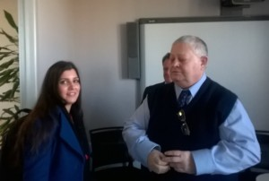 Hannah puts her case directly to SCC property officer John Houlihan at County Hall