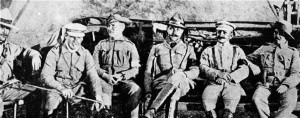 The group of officers including Handcock (left) Morant (2nd left) and Taylor (centre right).